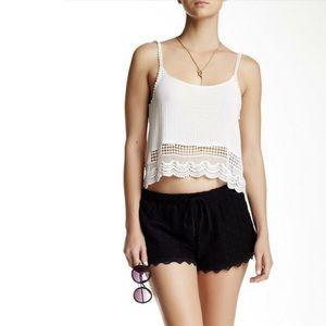 Free Press Black Crochet Lace Trim Summer Shorts